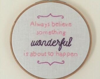 Something Wonderful Embroidered Hoop Art