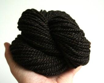 Handspun Yarn - Dark Chocolate - Finnish Wool - Dark Brown Yarn - Bulky Yarn - Felicity Yarn