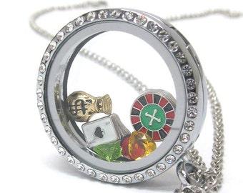 Swarovski Crystal Casino Roulette Poker Blackjack Locket Origami Necklace