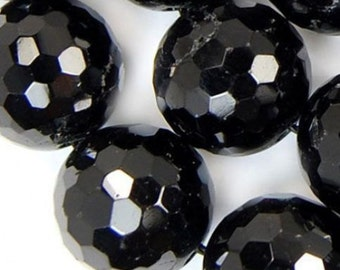 """12mm Faceted Natural Black Tourmaline Round Beads 15.5"""""""