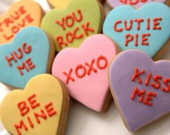 "1 Dozen Decorative 3"" Shortbread  - Valentine Candy Heart Cookies"