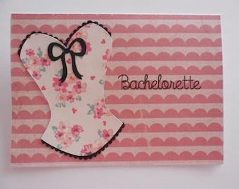 Bachelorette Card- Bachelorette Corset Card- Corset Card- Bridal Shower Card- Lingerie Party Card- Corset Lingerie Card- Corset Card