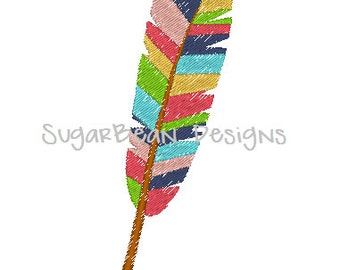 Colorful Feathers Embroidery Design. Feather Machine Embroidery Design. Three Sizes Included