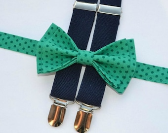 Green Polka Dot Bow Tie & Navy Suspenders -- Boy Cake Smash Outfit  -- Baby First Birthday Outfit