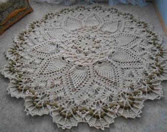"""Crocheted milk color rug """"Grand"""""""