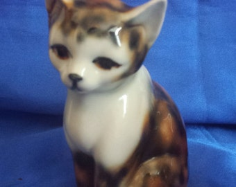 Pottery Cat Handpainted in Brown, Orange and Black
