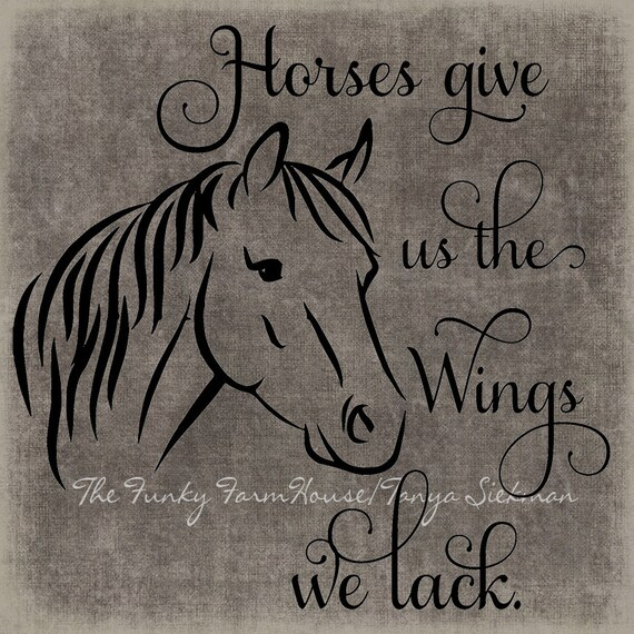 SVG, DXF & PNG  - Horses give us the wings we lack