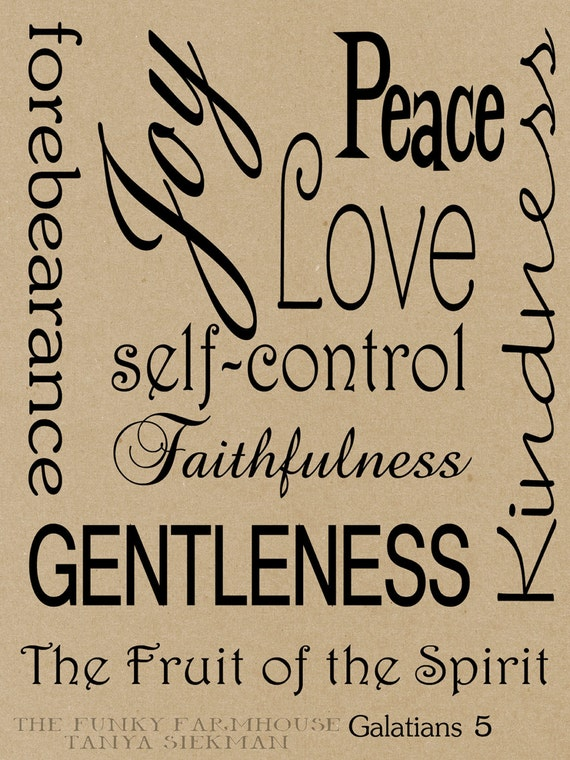 SVG, DXF & PNG Fruitage of the spirit, Love, Joy, Self-Control, Faithfulness, Kindness, Gentleness, Peace, Forebearance