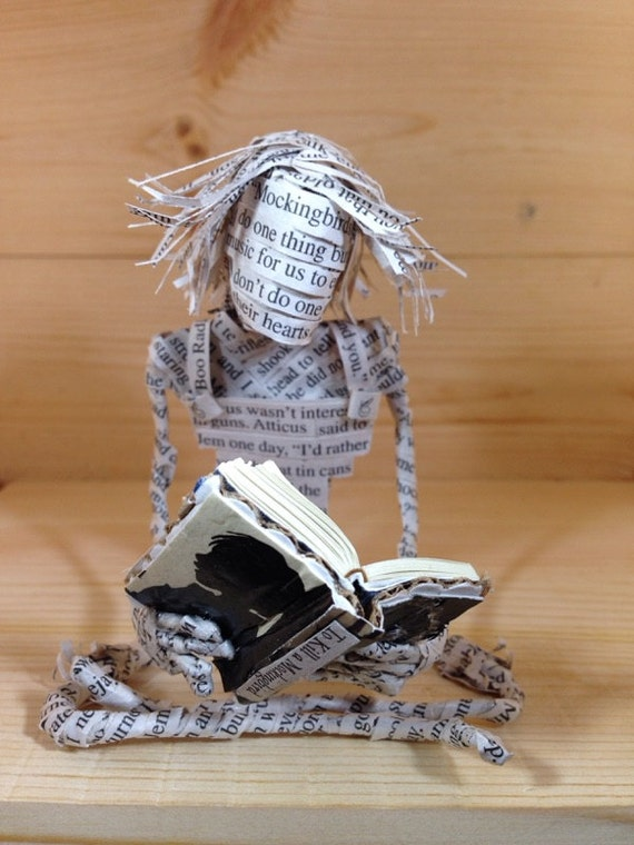 To Kill a Mockingbird, Harper Lee, Book Sculpture, Repurposed Book, Altered Book, Paper Art, Librarian Gift, Book lover, Paper Mache