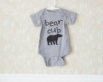 Baby bear cub onesie // Gray, Bear cub, Baby onesie, Baby shower gift, New baby, Babies, Baby girl onesie, Baby boy onesie