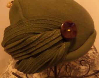 Vintage 50's Terry Sales Melofine Felt Olive Green hat