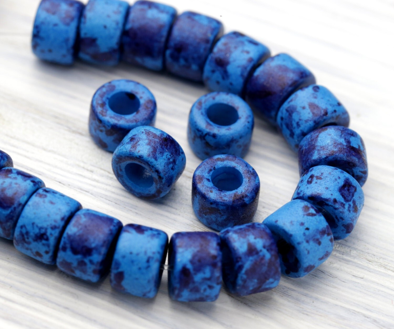 Pc mini tube spacer bead indigo blue with deep