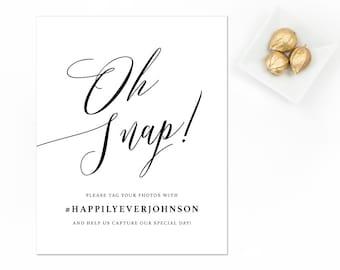 Wedding Photos Sign, Social Media Sign, Wedding Sign, Oh Snap