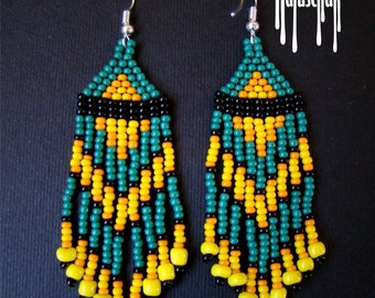 Fringe Earrings, Seed Bead Earrings, Beaded Earrings, Native American Beaded Earrings, Seed Bead Jewelry, Beaded Jewelry Chevron