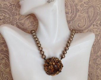 Gorgeous Unsigned Metal Bead, Amber Glass, Brass , Miriam Haskell Style, Choker Necklace
