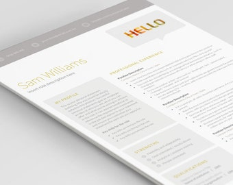 1 page resume template professional writing tips included easy to use cv template modern design microsoft word mac and pc easy to use resume templates
