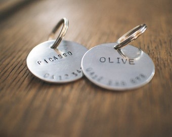 Custom Hand Stamped Silver Dog Name Tag - Black text