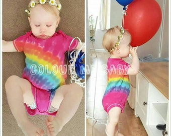 Tie dye pink rainbow baby vest  bodysuit