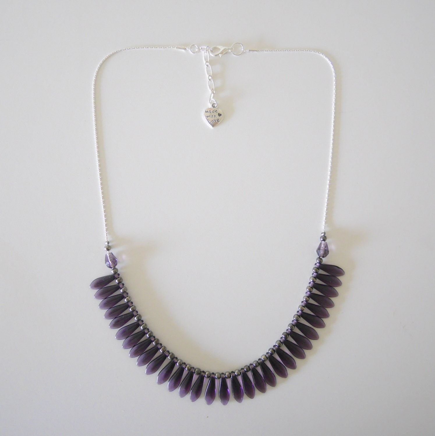 silver tanzanite bead necklace by nymah on etsy