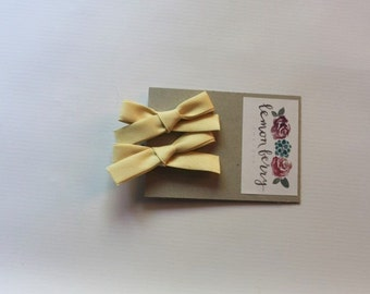 Pale Yellow Piggy Tail Clips, Bow Clips
