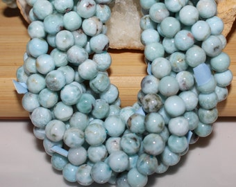 "THE VAULT: 16"" Strand of ""AAA"" Quality 6mm Smooth Round Larimar Beads #42"