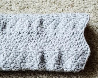 Grey Wavy Crochet Arm Warmers