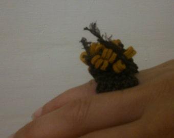Crochet ring, Knitted ring, Boho ring