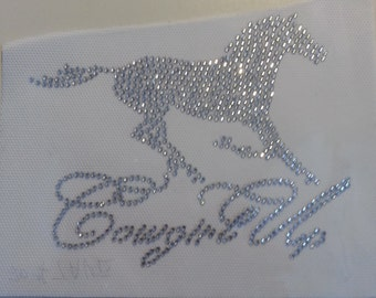 Rhinestone Horse Cowgirl Up Transfer       *HORSE BLING*