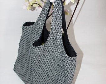 Blue Japanese fabric reversible tote bag