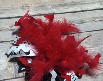 Miss Mouse Over the Top Bow Red Black and White Bow with Headband