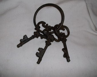 Set Of 3 Cast Iron Replica Skeleton Keys On Ring Great Rustic Looking