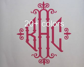 Monogram Decal / Sticker Available in 24 Colors ~ Tumbler, Wine Glass, Mug, Cup, Thermos, Water Bottle