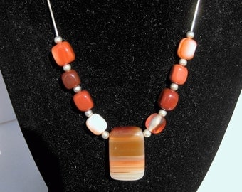 """Freeform Orange and White Agate Gemstones with Sterling Silver Beads on an 18"""" Sterling Silver Necklace, No. 685"""