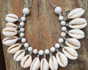 Cowrie shell and howlite necklace
