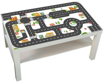 "Kids room: Furniture sticker ""Small City"" for IKEA LACK (1M-ST01-04) - Play table, play mat for toy cars - Furniture not included"