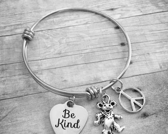 Be Kind Grateful Dead Dancing Bear Peace Charm Bracelet