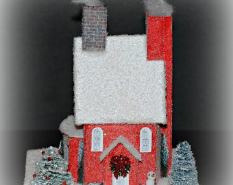 Glitter House, Handmade Red Glittered House, Christmas Village House, Putz Style House, Christmas Village Paper House, Christmas Decoration