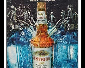 "Vintage Print Ad October 1968 : Antique Kentucky Straight Bourbon Whiskey Wall Art Decor 8.5"" x 11"" each Advertisement"