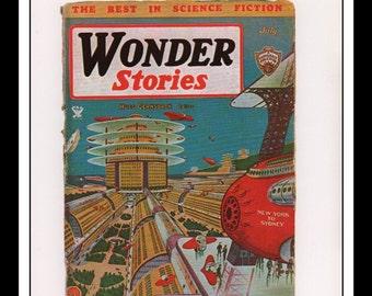 "Vintage Print Ad Sci Fi Cover : Wonder Stories July 1934 Frank Paul Illustration Wall Art Decor 8.5"" x 11 3/4"""