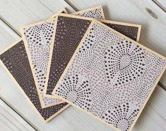 Decorative Coasters, Polka Dot Coasters, Geometric Coasters, Purple Coasters, Grey Coasters, Grey Home Decor, Wood Coaster Set, Coasters