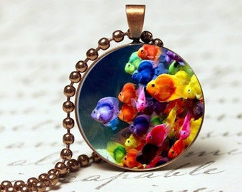 Tropical fish pendant, colourful aquarium pendant necklace