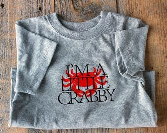 Funny Kids Tshirt, Funny Toddler Shirt, Crab Shirt, Funny Childrens T shirts, I'm a little crabby, kids clothes, toddler t shirt, nautical