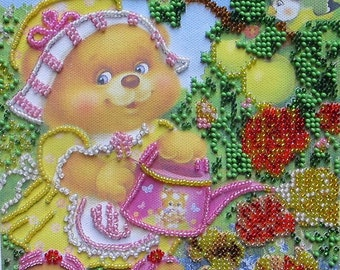 "Beadwork ""Hostess"" 6 ""x 6"" on a natural canvas art, Czech and Japanese beads, handmade, children, embroidered teddy bear"