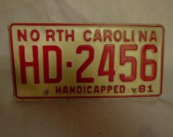 Vintage 1981 North Carolina Handicapped License Plate