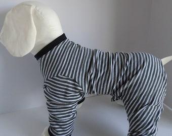 Dog Pajamas -  Dog Clothes - Cute Dog Clothes - Pet Clothes - Striped PJ's