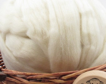 Cheviot Wool Top Roving - Undyed Natural Spinning Fiber / 1oz