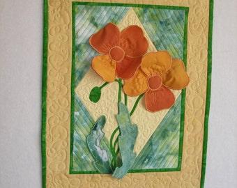 California, Poppies, Three Dimensional, Art Quilt, Wall Hanging, Wall Art, Art, Quilt, State Flower,