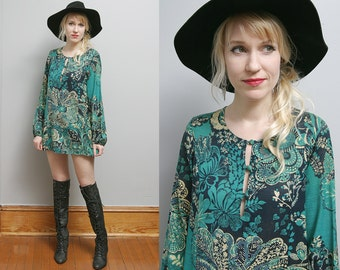 VTG 70's Blue & Green Tropical Floral Psychedelic Hippie Boho Cotton Tunic Top Made in Paris - S/M