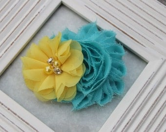 yellow and turquoise hair clips, aqua hair bows, turquoise flower girl hair clips, yellow hair bow, toddler hair bows, yellow hair clips