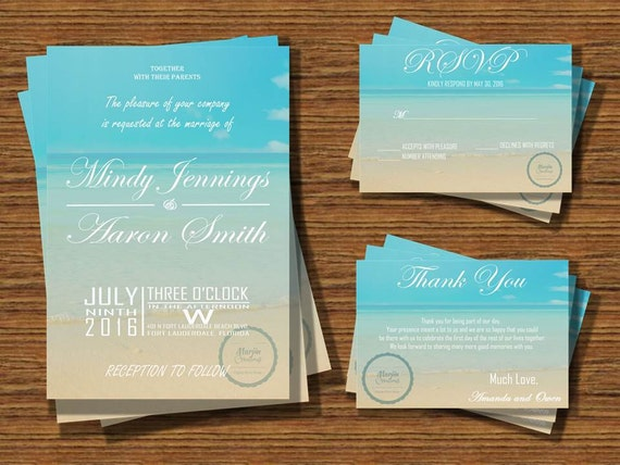 Printable Beach Wedding Invitations: Printable Romantic Beach Wedding Invitation By MarjinCreations